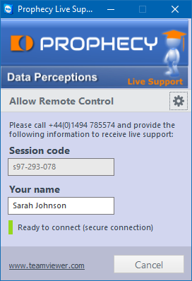 Screenshot of our remote support utility